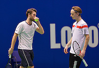 December 20, 2014, Rotterdam, Topsport Centrum, Lotto NK Tennis, Men's doubles final, Stijn de Gier (R) and his partner David de Goede<br /> Photo: Tennisimages/Henk Koster