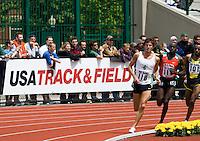 EUGENE, OR--From left, John Jefferson, Bernard Kiptum, Tariku Beleke race in the men's 2 mile at the Steve Prefontaine Classic, Hayward Field, Eugene, OR. SUNDAY, JUNE 10, 2007. PHOTO © 2007 DON FERIA