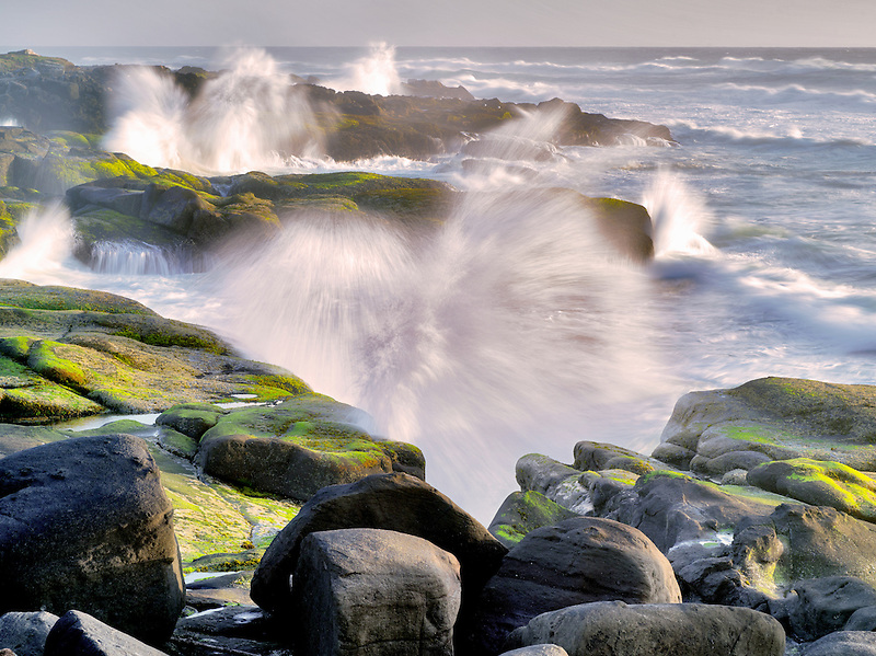 Storm waves crashing on shore. Smelt Sands State Park, Oregon