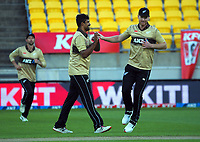 NZ's Ish Sodhi celebrates dismissing Joshua Philippe during the 4th international men's T20 cricket match between the New Zealand Black Caps and Australia at Sky Stadium in Wellington, New Zealand on Friday, 5 March 2021. Photo: Dave Lintott / lintottphoto.co.nz