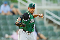 Augusta GreenJackets starting pitcher Edwin Escobar #22 makes a pick-off throw to first base against the Kannapolis Intimidators at CMC-Northeast Stadium on May 2, 2012 in Kannapolis, North Carolina.  The GreenJackets defeated the Intimidators 9-6.  (Brian Westerholt/Four Seam Images)