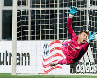 FOXBOROUGH, MA - MAY 12: Joe Rice #51 of New England Revolution II dives during a game between Union Omaha and New England Revolution II at Gillette Stadium on May 12, 2021 in Foxborough, Massachusetts.