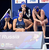 Russia Dejection <br /> Budapest 25/01/2020 Duna Arena <br /> SPAIN (white caps) Vs. RUSSIA (blue caps) Women <br /> Final 1st - 2nd place <br /> XXXIV LEN European Water Polo Championships 2020<br /> Photo  © Andrea Staccioli / Deepbluemedia / Insidefoto