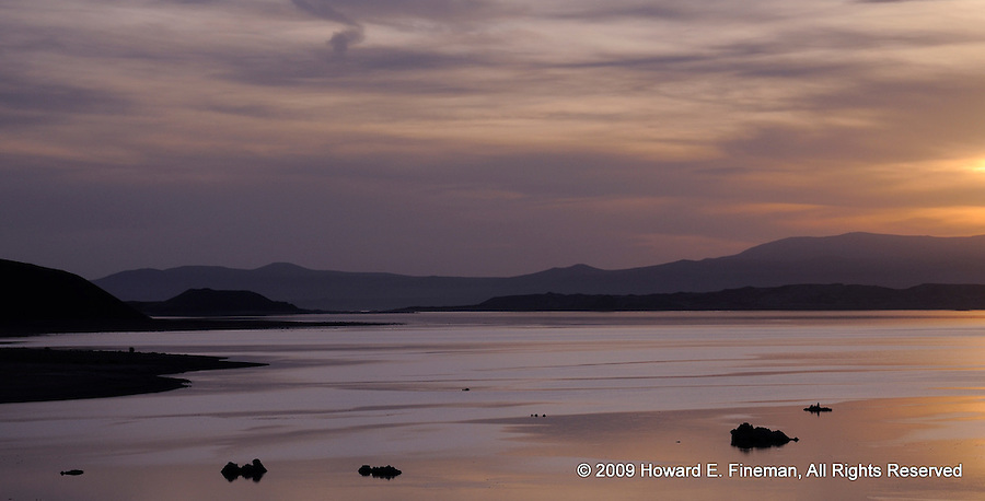Sunrise near north end of Mono Lake. Serene with the look of titanium, but pale by comparison to the pre-sunrise color.