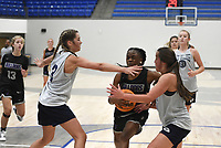 Fayetteville's Wynter Beck (14) drives the ball, Thursday, June 10, 2021 during a basketball game at Rogers High School in Rogers. Check out nwaonline.com/210611Daily/ for today's photo gallery. <br /> (NWA Democrat-Gazette/Charlie Kaijo)