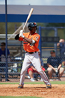 Baltimore Orioles Jaylen Ferguson (48) at bat during an Instructional League game against the New York Yankees on September 23, 2017 at the Yankees Minor League Complex in Tampa, Florida.  (Mike Janes/Four Seam Images)