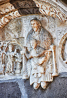 Lunette of the main portal with Romanesque sculptures of the Modona and child , Basilica Church of Santa Maria Maggiore, Tuscania