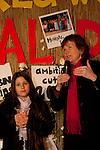 Mary Robinson speaks at a candlelight vigil held at the Bella Center in Copenhagen on Saturday evening. Dec. 12, 2009. (Credit: Robert vanWaarden/Avaaz.org)
