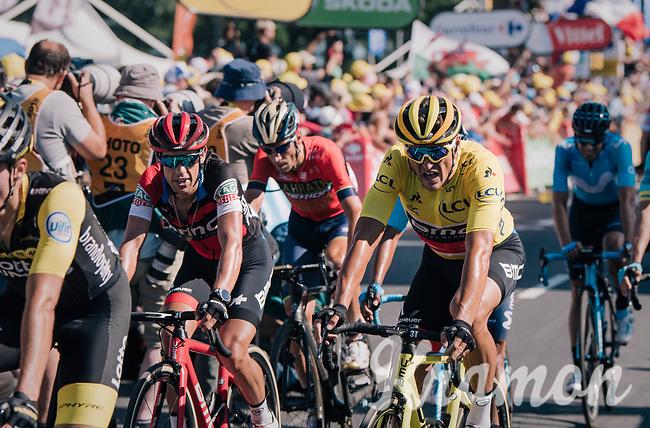 yellow jersey / GC leader Greg Van Avermaet (BEL/BMC) finishing up the Mûr de Bretagne together with a group of favorites and retaining his jersey<br /> <br /> Stage 6: Brest > Mûr de Bretagne / Guerlédan (181km)<br /> <br /> 105th Tour de France 2018<br /> ©kramon