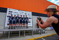 Media manager Katie Farman takes a photo of the NZ national team. Masterton circuit team time trials - Stage One of 2021 NZ Cycle Classic UCI Oceania Tour at Mitre 10 Mega in Masterton, New Zealand on Wednesday, 13 January 2021. Photo: Dave Lintott / lintottphoto.co.nz