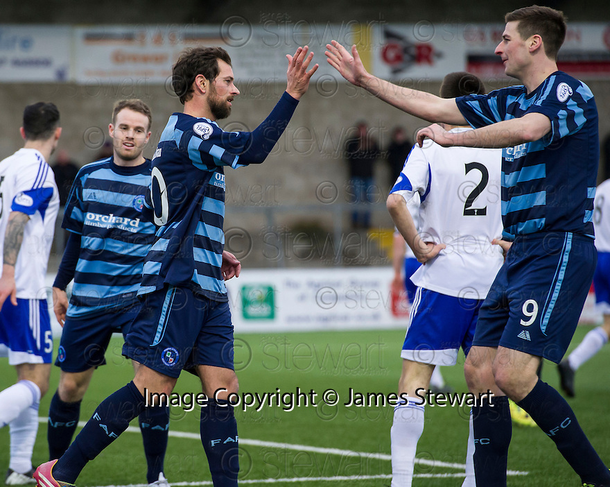 Forfar's Gavin Swankie celebrates with Chris Templeman after he scored their second goal.