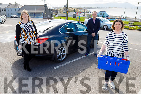 Ballyheigue GAA club volunteers and members from the Family Resource Centre ready to provide service delivering groceries and medicines to elderly and vulnerable members of the community In Ballyheigue on Tuesday.<br /> Front right: Fiona O'Sullivan with Cara Flahive and Seamus Falvey.