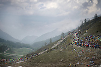 up the dirt roads of the Colle delle Finestre (2178m)<br /> <br /> Giro d'Italia 2015<br /> stage 20: Saint Vincent - Sestriere (199km)