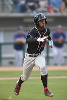 Raimel Tapia (15) of the Modesto Nuts runs the bases during a game against the Rancho Cucamonga Quakes at LoanMart Field on May 39, 2015 in Rancho Cucamonga, California. Rancho Cucamonga defeated Modesto, 13-2. (Larry Goren/Four Seam Images)