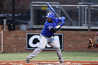 ELON, NC - FEBRUARY 28: Miguel Rivera #17 of Indiana State University waits for a pitch during a game between Indiana State and Elon at Walter C. Latham Park on February 28, 2020 in Elon, North Carolina.
