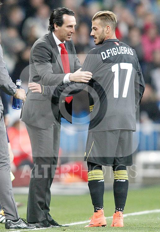 Sevilla's coach Unay Emery with his player Diogo Figueiras during La Liga match. March 20,2016. (ALTERPHOTOS/Acero)