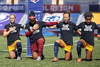 HERRIMAN, UT - JULY 4: Utah Royals FC kneels during national anthem during a game between Sky Blue FC and Utah Royals FC at Zions Bank Stadium on July 4, 2020 in Herriman, Utah.