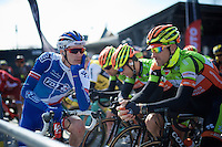 former teammates Yoann Offredo (FRA/FDJ) & David Boucher (FRA/Crelan-Vastgoedservice) at the start<br /> <br /> 3-daagse van West-Vlaanderen 2016<br /> stage1: Bruges-Harelbeke 176km