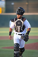 Carlos Reina (25) of the Cucuys de San Bernardino in the field during a game against the los Toros de Visalia at San Manuel Stadium on July 11, 2021 in San Bernardino, California. (Larry Goren/Four Seam Images)