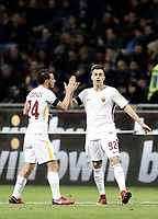 Calcio, Serie A: Inter - Roma, Milano, stadio Giuseppe Meazza (San Siro), 21 gennaio 2018.<br /> Roma's Stephan El Shaarawy (r) celebrates after scoring with Roma's Captain Alessandro Florenzi (l) during the Italian Serie A football match between Inter Milan and AS Roma at Giuseppe Meazza (San Siro) stadium, January 21, 2018.<br /> UPDATE IMAGES PRESS/Isabella Bonotto