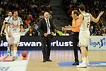 Real Madrid´s coach Pablo Laso discuss with the referee before it's expelled during 2014-15 Liga Endesa match between Real Madrid and Unicaja at Palacio de los Deportes stadium in Madrid, Spain. April 30, 2015. (ALTERPHOTOS/Luis Fernandez)