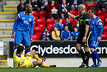 St Johnstone v Kilmarnock....02.04.11 .Michael Duberry rages at ref Stephen Finnie after a free kick was awarded against him for hischallenge on Alexei Eremenko.Picture by Graeme Hart..Copyright Perthshire Picture Agency.Tel: 01738 623350  Mobile: 07990 594431