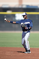 Milwaukee Brewers second baseman Franly Mallen (10) during an Instructional League game against the Seattle Mariners on October 4, 2014 at Peoria Stadium Training Complex in Peoria, Arizona.  (Mike Janes/Four Seam Images)
