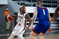 22nd February 2021, Podgorica, Montenegro; Eurobasket International Basketball qualification for the 2022 European Championships, England versus France;  Andrew Albicy of France covered by Benjamin Mockford (GBR)