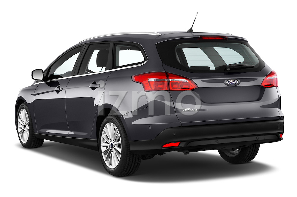 Car pictures of rear three quarter view of a 2015 Ford Focus Titanium 5 Door Wagon Angular Rear