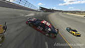 #20: Erik Jones, Joe Gibbs Racing, Toyota Camry, #66: Timmy Hill, Motorsports Business Management, Toyota Camry<br /> <br /> (MEDIA: EDITORIAL USE ONLY) (This image is from the iRacing computer game)