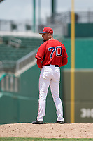 GCL Red Sox relief pitcher Nick Duron (70) gets ready to deliver a pitch during a game against the GCL Orioles on August 9, 2018 at JetBlue Park in Fort Myers, Florida.  GCL Red Sox defeated GCL Orioles 10-4.  (Mike Janes/Four Seam Images)