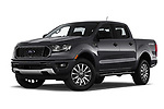 Stock pictures of low aggressive front three quarter view of 2019 Ford Ranger XLT 4 Door Pick-up Low Aggressive