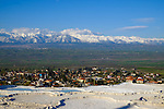 Mountain scenery from Pamukkale during Stage 5 of the 2015 Presidential Tour of Turkey running 159.9km from Mugla to Pamukkale. 30th April 2015.<br /> Photo: Tour of Turkey/Steve Thomas/www.newsfile.ie