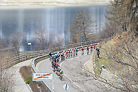 21st April 2021; Imst, Austria;  Cycling Tour des Alpes Stage 3,  Imst in Austria to Naturns/Naturno, Italy; The peloton in Resia