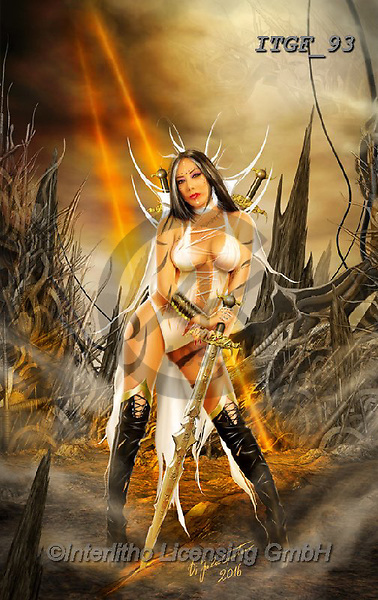 Gaetano, MODERN, MODERNO, paintings+++++The Three Swords Of Doom,ITGF93,#n#, EVERYDAY ,fantasy,puzzles,gothic,pin-up,pin-ups