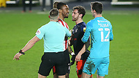 Ivan Toney of Brentford and Luton's Tom Lockyer square up to one another. Moments later, referee Stephen Martin sent off both players during Brentford vs Luton Town, Sky Bet EFL Championship Football at the Brentford Community Stadium on 20th January 2021