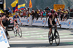 """Geraint Thomas (WAL) Team Ineos loses 30"""" to the race leader as he finishes 8th ahead of French Champion Warren Barguil (FRA) Arkéa Samsic 9th place cross the finish line atop the Col du Tourmalet at the end of Stage 14 of the 2019 Tour de France running 117.5km from Tarbes to Tourmalet Bareges, France. 20th July 2019.<br /> Picture: Colin Flockton 