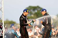 #01: Cadillac Chip Ganassi Racing Cadillac DPi , DPi: Renger van der Zande, Kevin Magnussen celebrate in victory lane