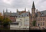 Duc de Bourgogne and Huidevettershuis, Rozenhoedkaai Red Hat Quay, Bruges, Brugge, Belgium