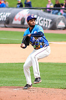 Wisconsin Timber Rattlers pitcher Michael Petersen (22) delivers a pitch during a Midwest League game against the Great Lakes Loons on May 12, 2018 at Fox Cities Stadium in Appleton, Wisconsin. Wisconsin defeated Great Lakes 3-1. (Brad Krause/Four Seam Images)