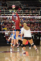 STANFORD, CA - NOVEMBER 17: Stanford, CA - November 17, 2019: Jenna Gray, Morgan Hentz at Maples Pavilion. #4 Stanford Cardinal defeated UCLA in straight sets in a match honoring neurodiversity. during a game between UCLA and Stanford Volleyball W at Maples Pavilion on November 17, 2019 in Stanford, California.