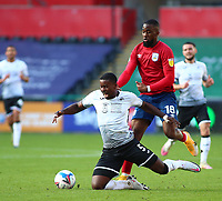17th October 2020; Liberty Stadium, Swansea, Glamorgan, Wales; English Football League Championship Football, Swansea City versus Huddersfield Town; Marc Guehi of Swansea City is fouled by Isaac Mbenza of Huddersfield Town