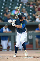 Second baseman Chandler Avant (5) of the Columbia Fireflies bats in a game against the Augusta GreenJackets on Saturday, June 1, 2019, at Segra Park in Columbia, South Carolina. Columbia won, 3-2. (Tom Priddy/Four Seam Images)