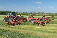 3-6-2021 Contractors rowing grass silage up<br /> ©Tim Scrivener Photographer 07850 303986<br />      ....Covering Agriculture In The UK....