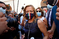 The Italian leader of the Fratelli d'Italia party Giorgia Meloni wearing a mask during demonstration of labour consultants against the Government in Montecitorio Square. Rome (Italy), July 29th 2020<br /> Photo Samantha Zucchi Insidefoto