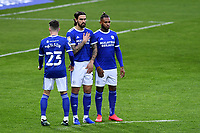 (L-R) Harry Wilson, Marlon Pack and Leandro Bacuna of Cardiff City during the Sky Bet Championship match between Swansea City and Cardiff City at the Liberty Stadium in Swansea, Wales, UK. Saturday 20 March 2021