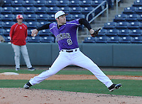 RHP Alex Abrams (9) of the Furman Paladins pitches in a game against the Miami (Ohio) Redhawks on Sunday, February 17, 2013, at Fluor Field at the West End in Greenville, South Carolina. Furman won, 6-5. (Tom Priddy/Four Seam Images)