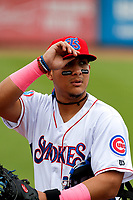 Tennessee Smokies catcher Miguel Amaya (30) warms up in the bullpen during the game against the Montgomery Biscuits on May 9, 2021, at Smokies Stadium in Kodak, Tennessee. (Danny Parker/Four Seam Images)