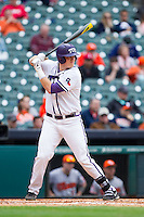 Kevin Cron #00 of the Texas Christian Horned Frogs at bat against the Sam Houston State Bearkats at Minute Maid Park on February 28, 2014 in Houston, Texas.  The Bearkats defeated the Horned Frogs 9-4.  (Brian Westerholt/Four Seam Images)