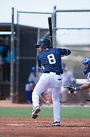 AZL Padres 1 catcher Rainier Aguilar (8) at bat in front of catcher Stephan Vidal (13) during an Arizona League game against the AZL Royals at Peoria Sports Complex on July 4, 2018 in Peoria, Arizona. The AZL Royals defeated the AZL Padres 1 5-4. (Zachary Lucy/Four Seam Images)